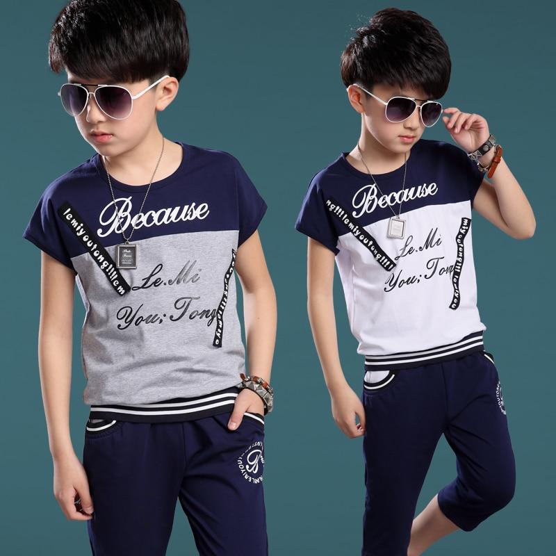 ec9fcb3ad 2018 Summer Children s Clothing Set Boys Fashion Splicing Sport Suit ...