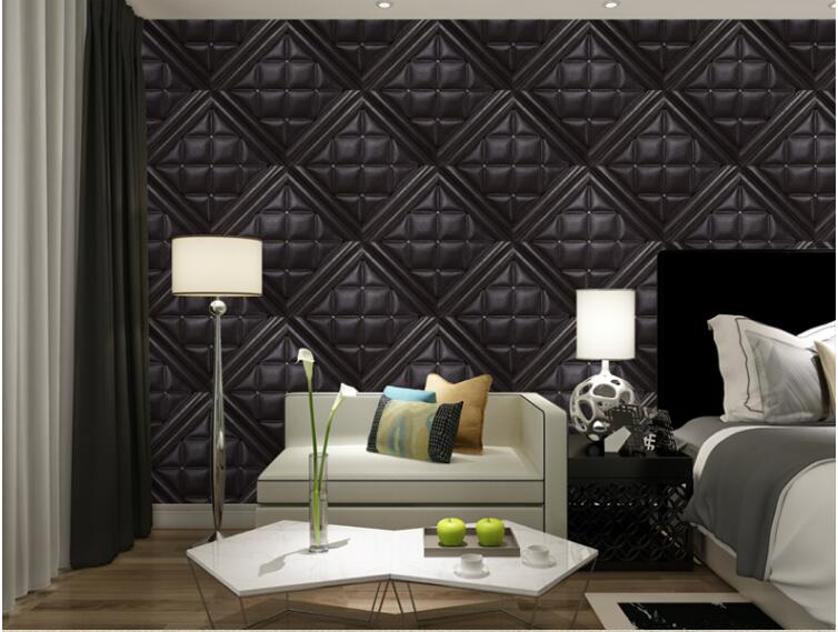 European Luxury Leather Simulation 3D Stereo TV Backdrop Wallpaper Modern Bedroom Living Room Soft PVC Wall Paper Home Decor custom 3d mural wallpaper european style painting stereoscopic relief jade living room tv backdrop bedroom photo wall paper 3d