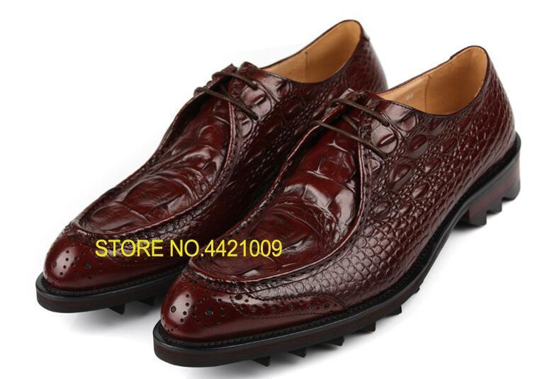 Formal Shoes 2018 Brown Black Crocodile Skin Leather Business Shoes Flats Lace Up Full Grain Leather Formal Casual Dress Shoes Wedding Boot Beautiful And Charming