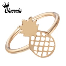 Chereda Simple Cute Pineapple Rings for Women Funny Outline Fruit Lovely Party Gift Bijouterie Jewelry