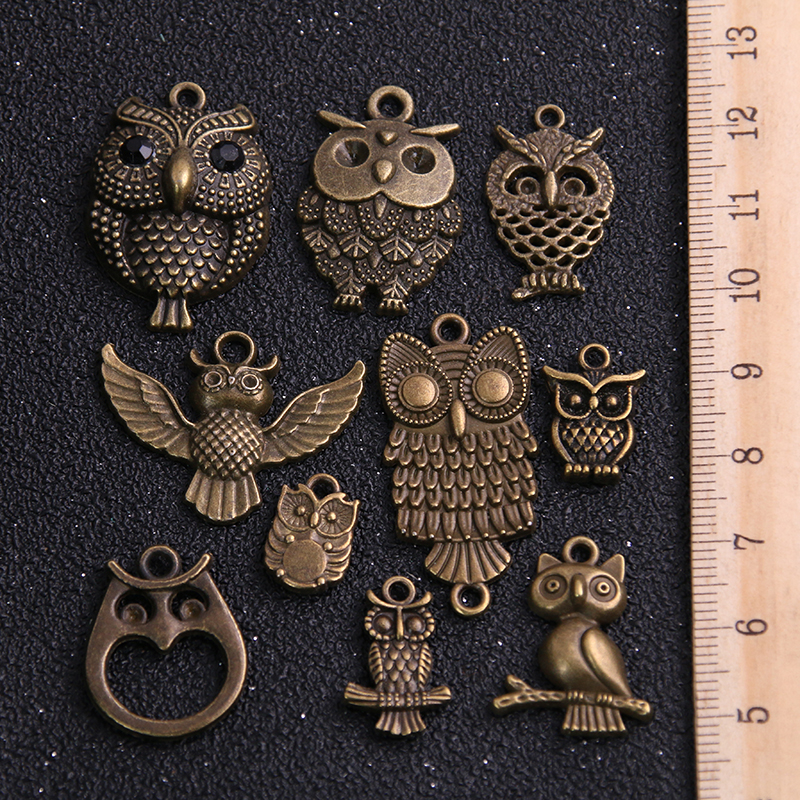 20pcs Vintage Metal Mixed Two color Random Owl Charms Animal Pendants For Jewelry Making Diy Handmade Jewelry 3