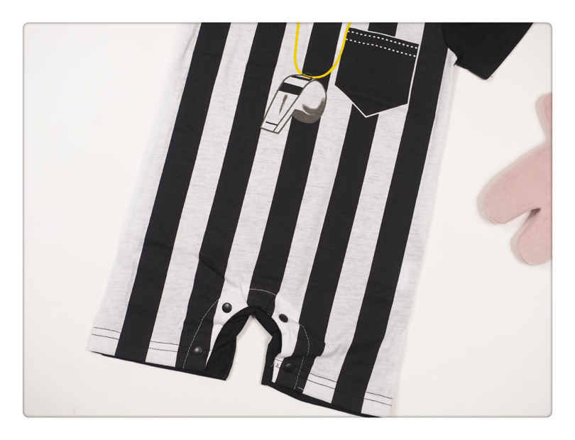 Black White Stripes Referee Style Baby Boy Short Sleeve Romper Jumpsuit  6-24 Months 8639231a4