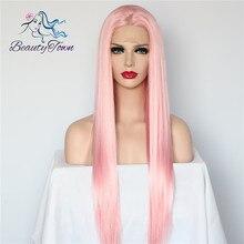 BeautyTown розовый цвет Glueless термостойкие волосы ручная вязка парик для косплея синтетические кружевные Передние Вечерние парики для женщин подарок