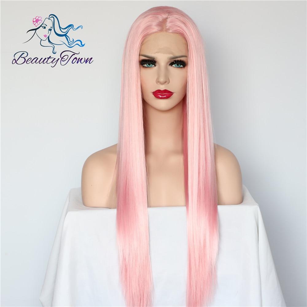 BeautyTown różowy kolor odporne na wysoką temperaturę Glueless włosy ręcznie wiązanej Cosplay Perruque syntetyczne koronki przodu peruki dla kobiet prezent w Peruki z siateczką syntetyczną od Przedłużanie włosów i peruki na AliExpress - 11.11_Double 11Singles' Day 1
