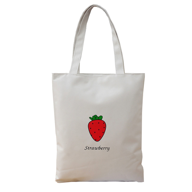 2018 Strawberry Printing Canvas Tote Woman Ping Bag Simple Beach Student Shoulder Handbag Large