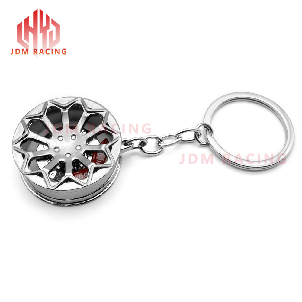 Creative Auto Parts Models Spinning Racing Brake Disc Keychain Key Chain Ring with Clean Cloth Automotive