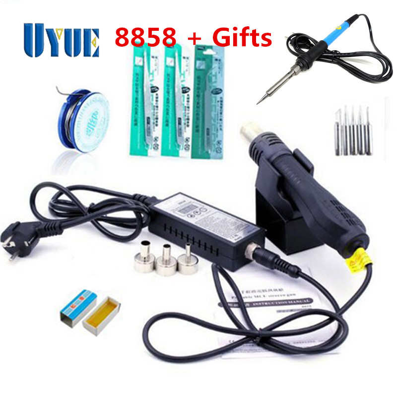 Free Shipping UYUE 8858 110V/220V Portable BGA Rework Solder Station Hot Air Blower Heat Gun + Gifts High Quality 2017 high quality taiwan bao ss 621h digital adjustable warm air gun electric blower proskit plastic welding torch free shipping
