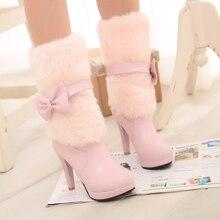 Neue süßen Fell Charm Warm Winter Stiefel 2016 High Heels schuhe Plattform Stiefel Mittlere waden Winter schnee Stiefel Frauen Schuhe frau