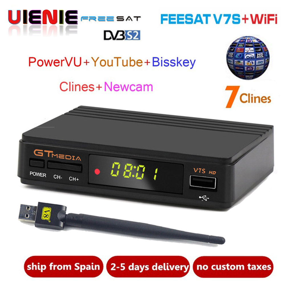 V7 Upgrade Digital Satellite TV empfänger Volle 1080 p DVB-S2 V7S HD + USB WIFI Unterstützung 1 Jahr Europa Clines decoder TV Box