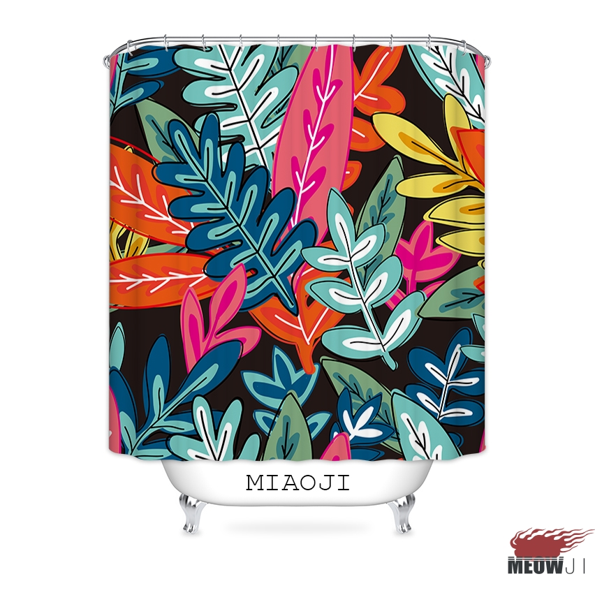 [MIAOJI] Lush Full-bodied Color Leaves Island Style Fabric Shower Curtain Decor Bathroom Curtain various sizes Free Shipping