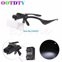 OOTDTY LED Magnifiers Lens Head Band Magnifier Glass Visor 2 LED Light Magnifying Loupe MY8 10