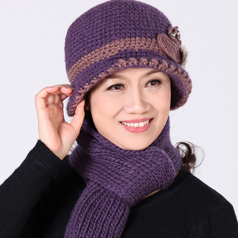 653ae367 ... Winter middle-aged hat female knitting hat plus cashmere warm wool hat  autumn and winter ...