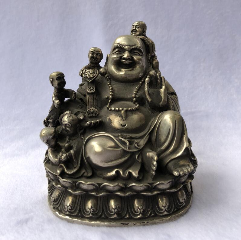 Pure copper Maitreya Buddha five sons Buddha bronze statue Feng Shui ornaments Antique old bronze antiques antique collectionPure copper Maitreya Buddha five sons Buddha bronze statue Feng Shui ornaments Antique old bronze antiques antique collection