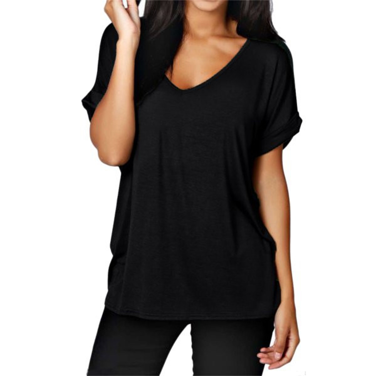 c1e5cf13285 2018 Fashion New Women Cotton T Shirt Ladies Summer Short Sleeve V neck  Loose Basic Tee Top Casual Plain Tshirt Blusas Plus Size-in T-Shirts from  Women s ...