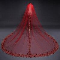 Mingli Tengda 2018 Soft One Layers 3m*3m Red Wedding Veil Lace Edge Bridal Veils with Comb Elegant Cathedral Veil velo de novia