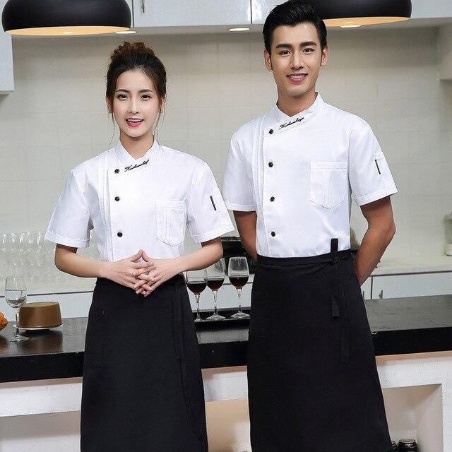 39ec0d3bb Western Restaurant Chef Jacket White Men Hotel Food Service Chef Uniform  Women Coffee Shop Cook Clothing for Kitchen Work Wear 9