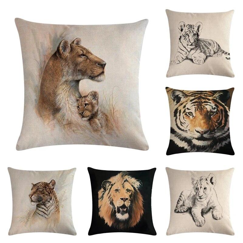 Sofa Tiger Cover Home Horse Decor Cotton For Linen Pillow Case Cushion Animal