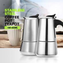 купить Stainless Steel Moka Coffee Maker Mocha Espresso Latte Stovetop Filter Coffee Pot 100ML 200ML 300ML 400ML Percolator Tools Pots по цене 496.95 рублей