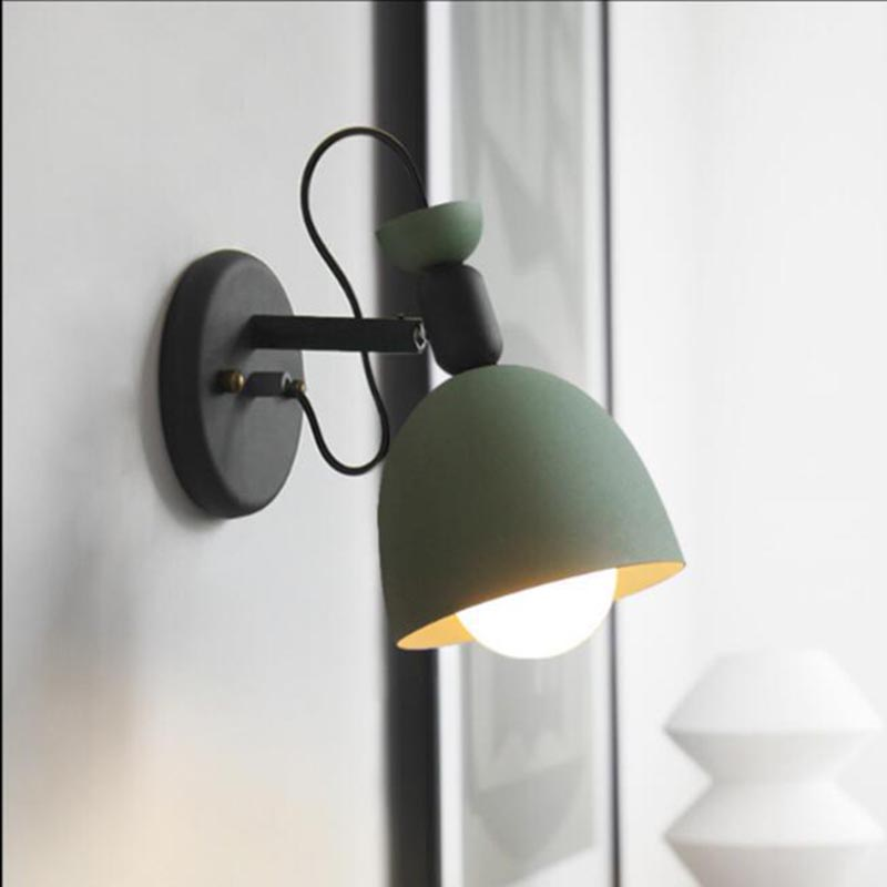 Nordic Wall Light Indoor Lighting Metal Iron Candy Color Modern Bedside Wall Lamp Vanity Lights Cafe Aisle Stairs Decor Lamps|Wall Lamps| |  - title=