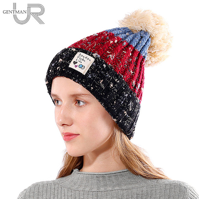 f8655cc2b71ab New Women s Winter Hat Three Color Patchwork Pompoms Knitted Hat Girls Warm  Fur Hat Winter Hats For Women Fashion Female Beanie