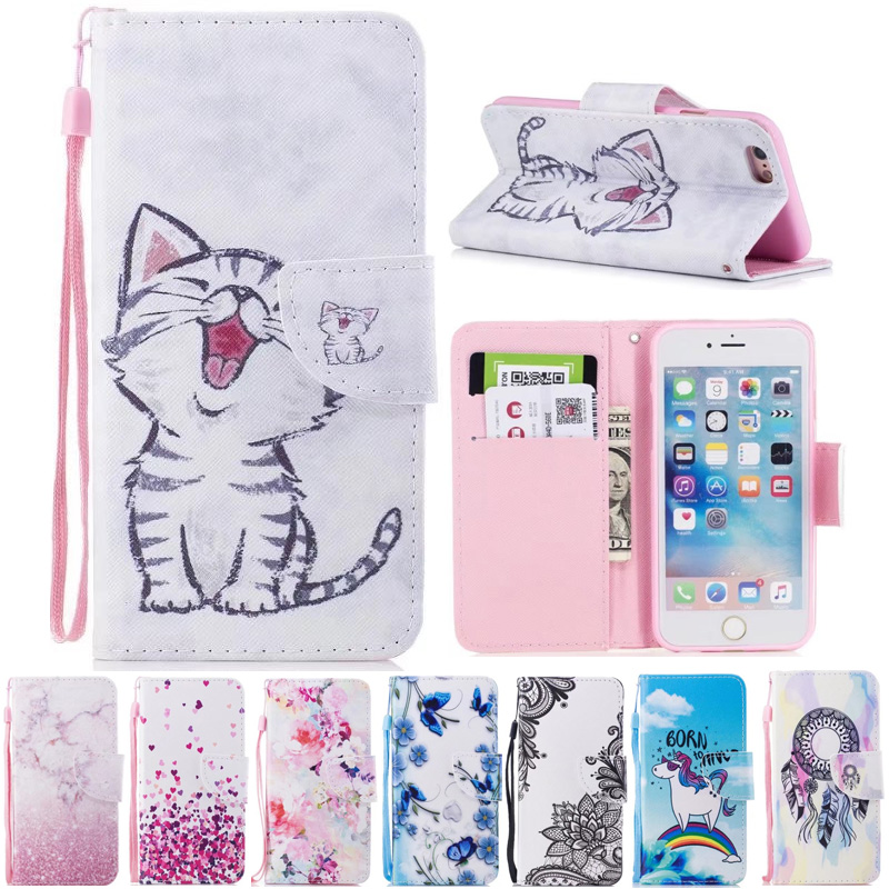 For iPhone 6S Case Wallet Cute Cat Stand Phone Cases For Apple iPhone 6 iPhone6 Cover Flip PU Leather Book Holder Bag Animal