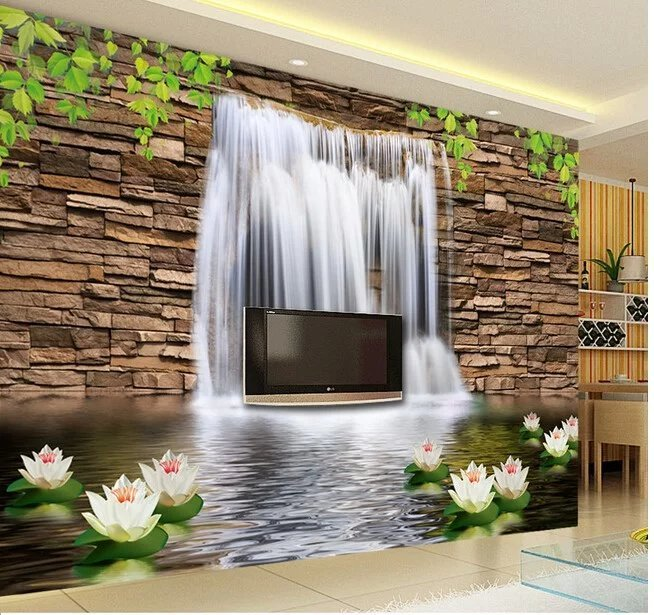 Large Mordern Luxury Style Majestic Waterfall From Hill Design 3d Wallpaper  3d Mural Living Room Background 3d Wall Paper Mural In Wallpapers From Home  ...