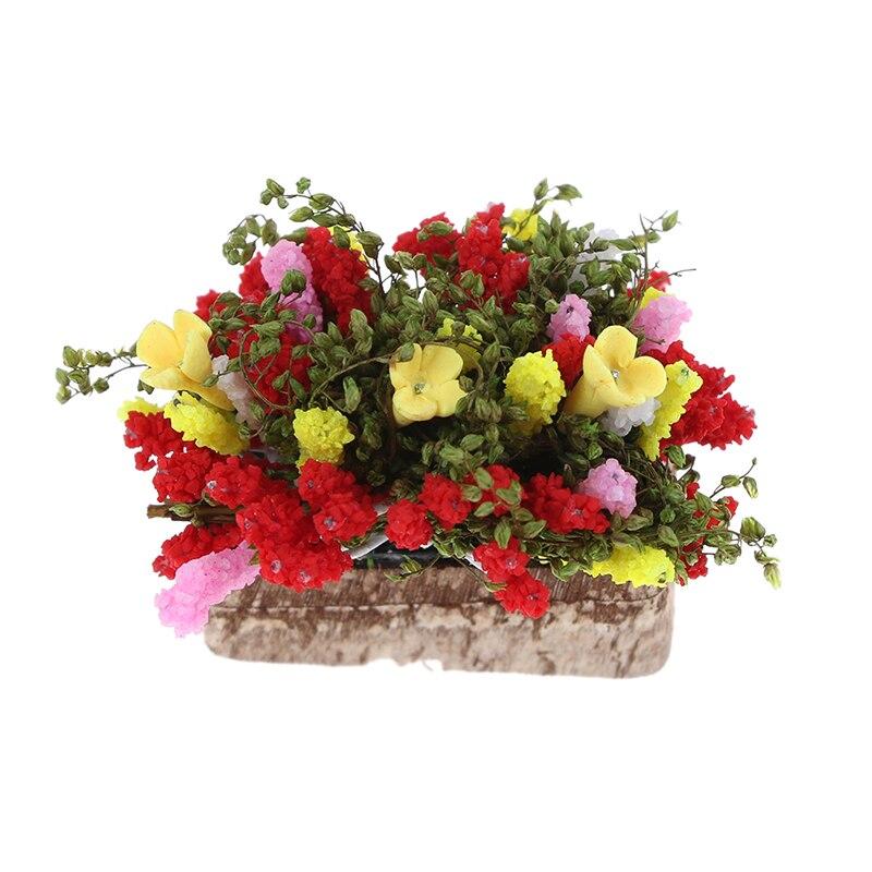 HOT SALE 1/12 Dollhouse Miniature Multicolor Flower Bush With Wood Pot (Color: Multicolor)