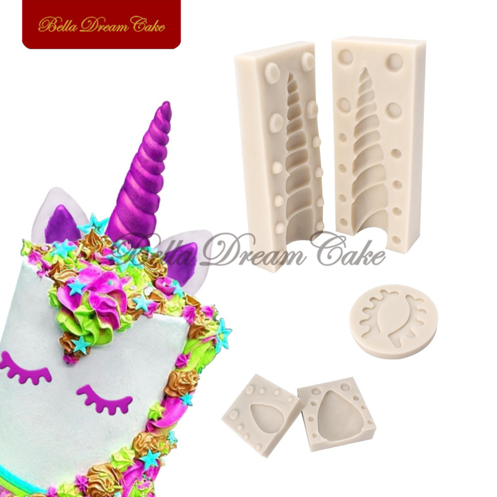 Unicornio 3D Cuerno Oídos Ojos Molde de Pastel de Silicona Animal - Cocina, comedor y bar