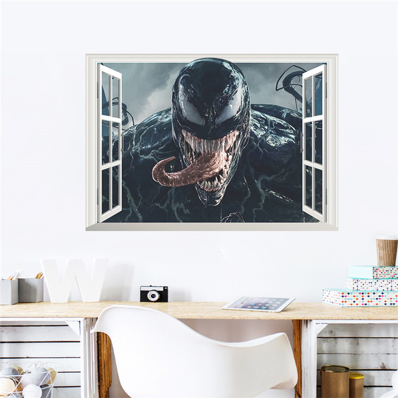 Venom 3d Window Broken Hole Wall Stickers Home Decoration Diy Film Poster Deadly Guardian Mural Art Pvc Wall Decals in Wall Stickers from Home Garden