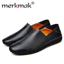 Merkmak Fashion Genuine leather Men Holes Loafer Shoes Handmade Cow Leather Slip On Driving Man Flats Moccasins Shoes Drop Ship