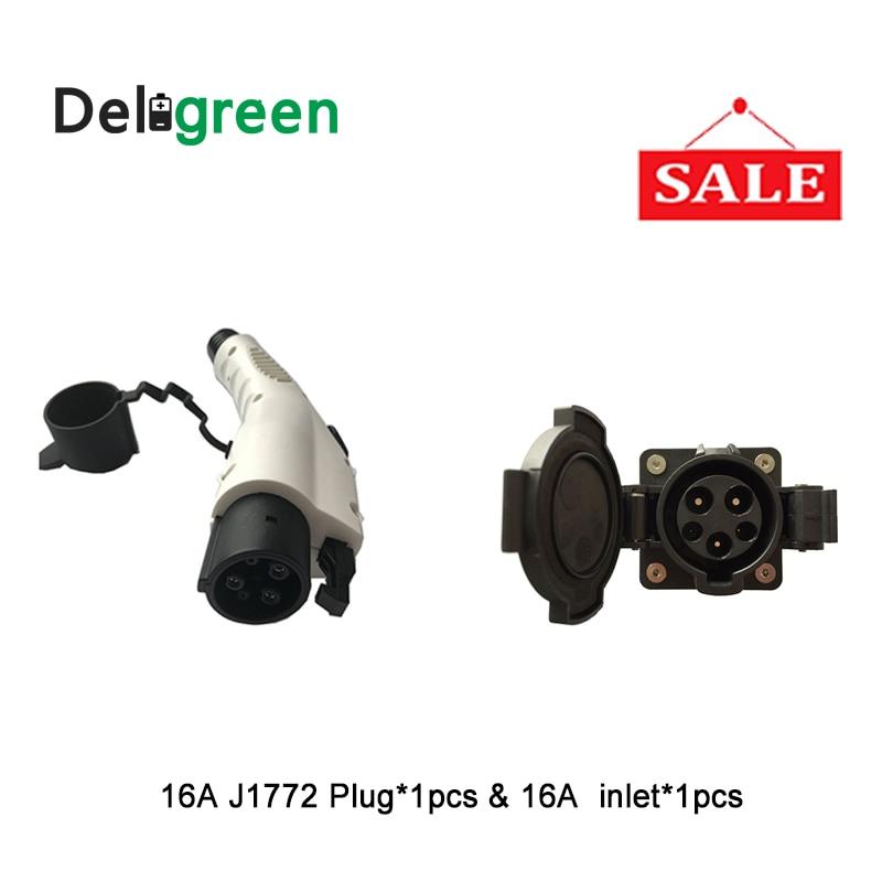 Duosida 16A SAE J1772 AC stekker en stopcontact zonder Kabel voor EV/Elektrische auto opladen of opladen station-in Elektrische Stekker van Consumentenelektronica op  Groep 1