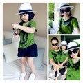 Familia conjunto de moda de verano 2016 de la corto-manga de la Camiseta conjunto de tres ropa para madre e hijo