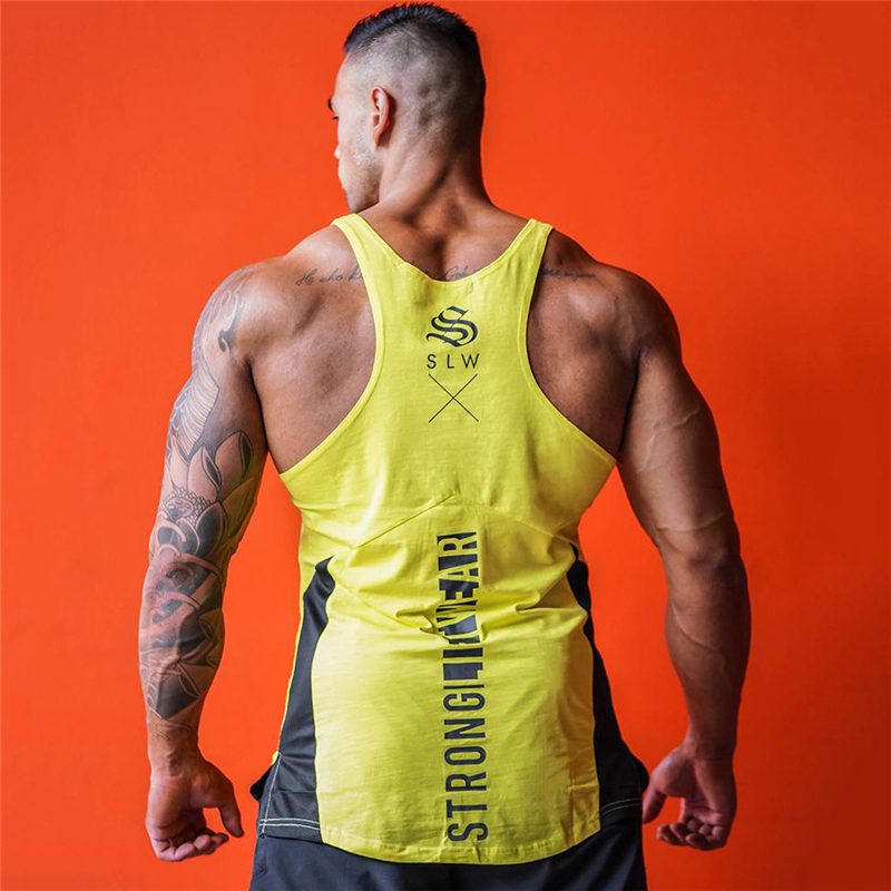 Casual gyms clothing Brand singlet Print bodybuilding stringer tank top men fitness Tops muscle guys sleeveless vest Tank in Tank Tops from Men 39 s Clothing