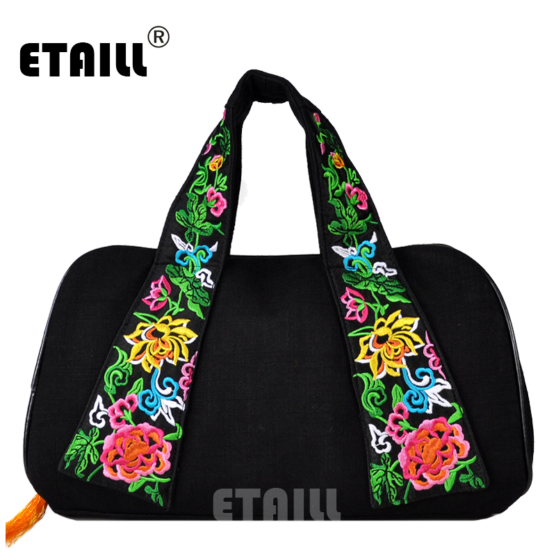 Canvas Embroidered Strap Tote Bag With Yellow Tassel Chinese Designed Handbag Leisure Travel Hobo Bag
