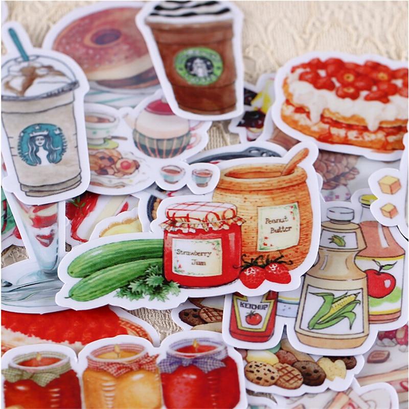 32pcs Creative kawaii cute Self-made watercolor food / drink scrapbooking stickers /decorative sticker /DIY craft photo albums