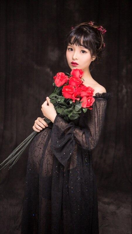 Черна рокля с дълги дантела без - Бременност и майчинство - Снимка 5
