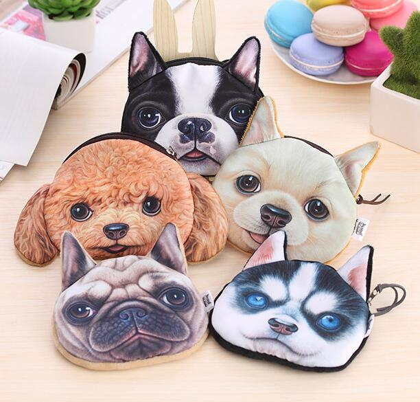 100 pieces Coin Purse 2020 Full Catalog animal 3D printed pattern dog purse factory wholesale Pug fabric pouch children's purse