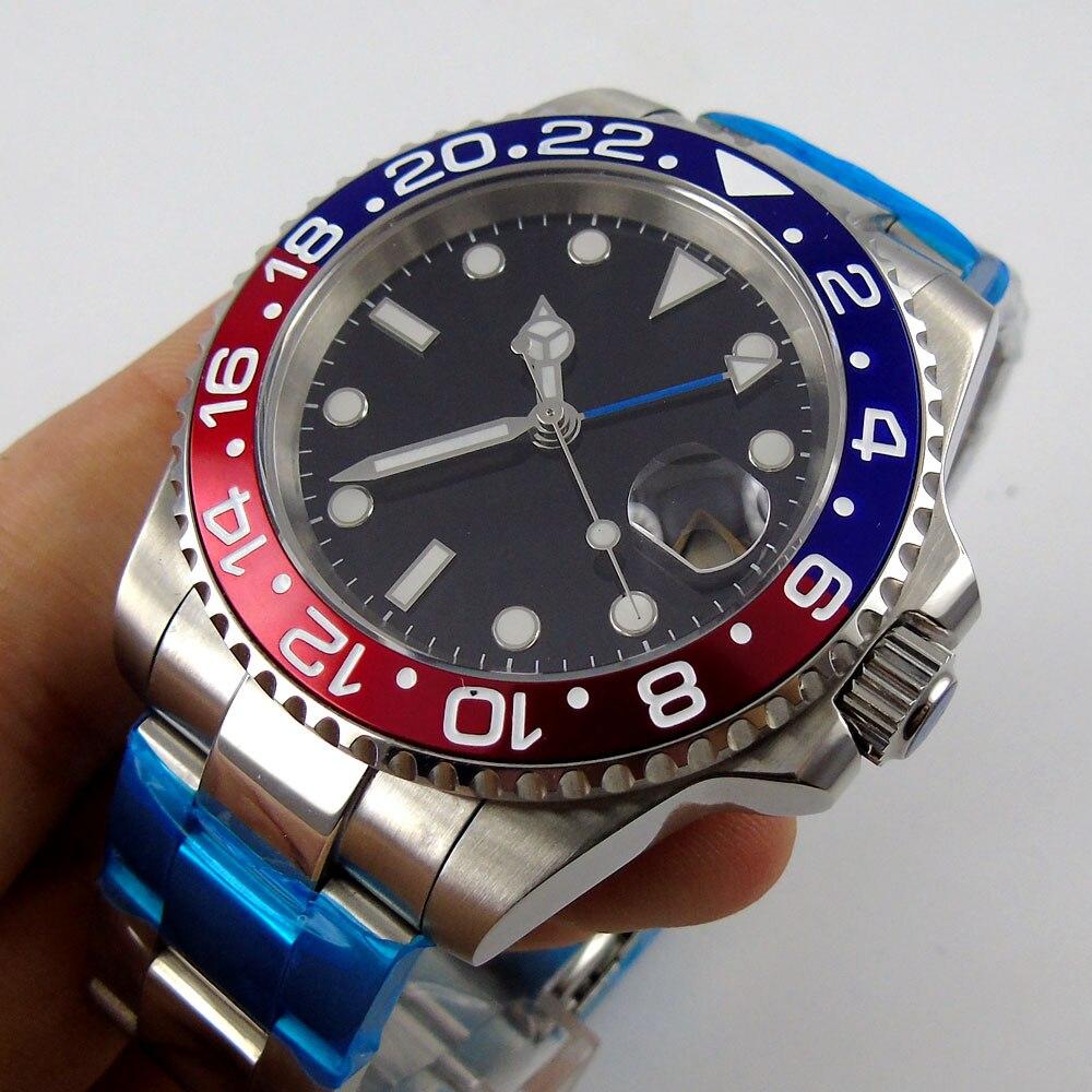 40mm zegarki mechaniczne GMT szafirowe mężczyzna zegarek Diver zegarek automatyczny zegarek relogio masculino rolę luksusowe zegarka mężczyzna w Zegarki mechaniczne od Zegarki na  Grupa 1