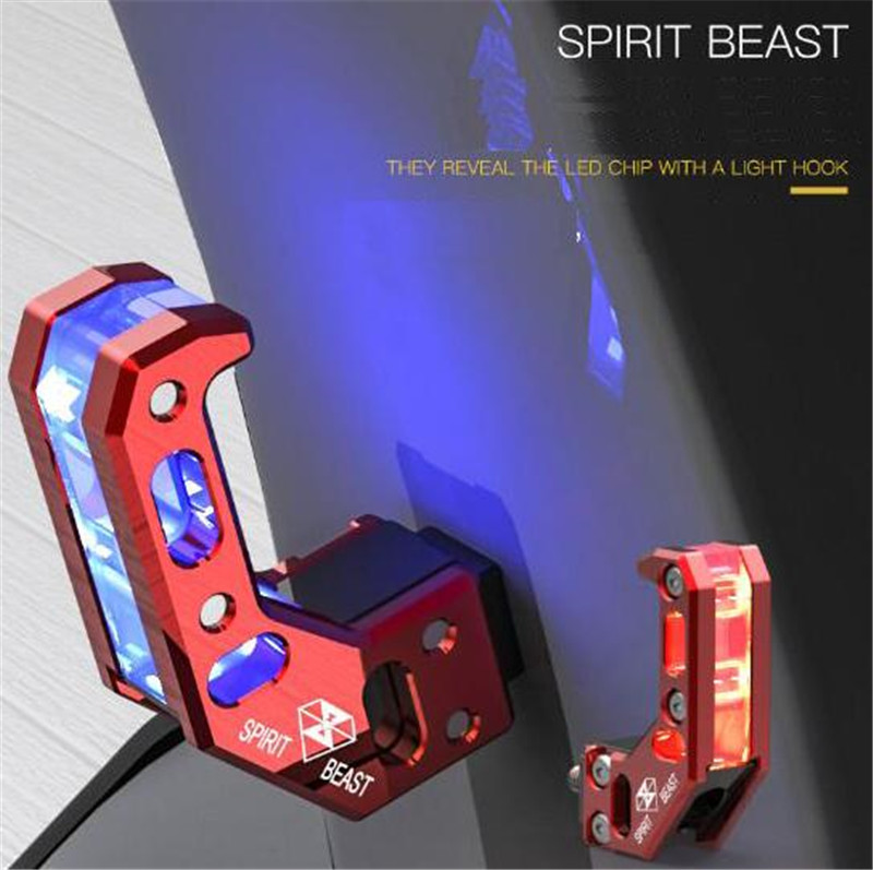 SPIRIT BEAST Motorcycle Hook Helmet Hook With Light Aluminum Alloy Scooter Universal Tools Decoration Modification Accessories easy ride kids 2 pedal scooter dual pedal scooter double pedal scooter with brake and musical light and safety helmet 7 safer