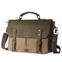 Men Vintage Canvas messenger bag crazy horse leather soft man travel bags retro school bag hasp cover military style handbag