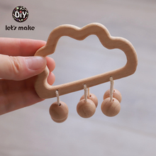Baby Toys Beech Wooden Teething Cloud Cartoon Horse Beads Children Stroller Toy Making Noise Rattle Gift DIY Rattles