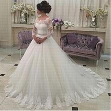 2019 מלא שרוול חגורת כדור שמלת שמלות כלה בהזמנה אישית כלה שמלת Robe de Soiree