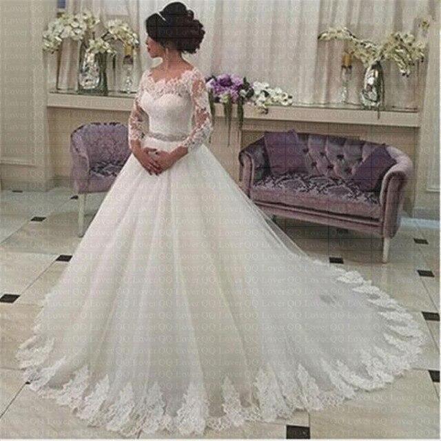 2019 Đầy Đủ Tay Áo Belt Bóng Gown Wedding Dress Tùy Chỉnh Thực Hiện Cô Dâu Đám Cưới Áo Choàng Áo Choàng de Dạ Hội