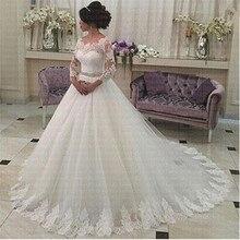 2019 كامل كم حزام الكرة ثوب الزفاف حسب الطلب العروس ثوب زفاف رداء دي سواريه