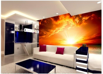 Home Decoration wallpaper bathroom Sea Red Sun Landscape Oil Painting Living Room TV Backdrop 3d nature wallpapers