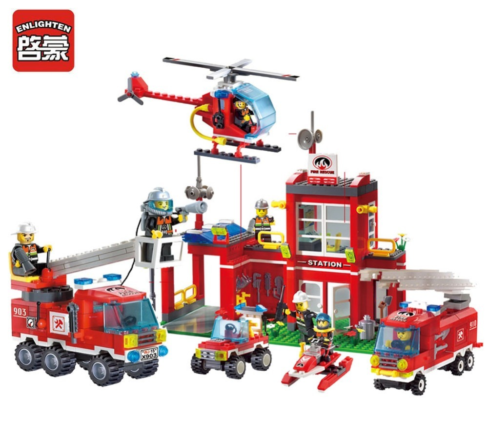 Enlighten building block fire rescue fire station branch 10 firemen 768pcs bricks without original box