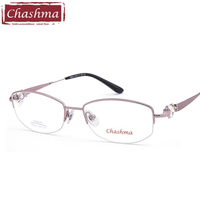 Chashma Brand Top Quality Pure Titanium Female Half Frame Stone Eyeglasses for Prescription Lenses