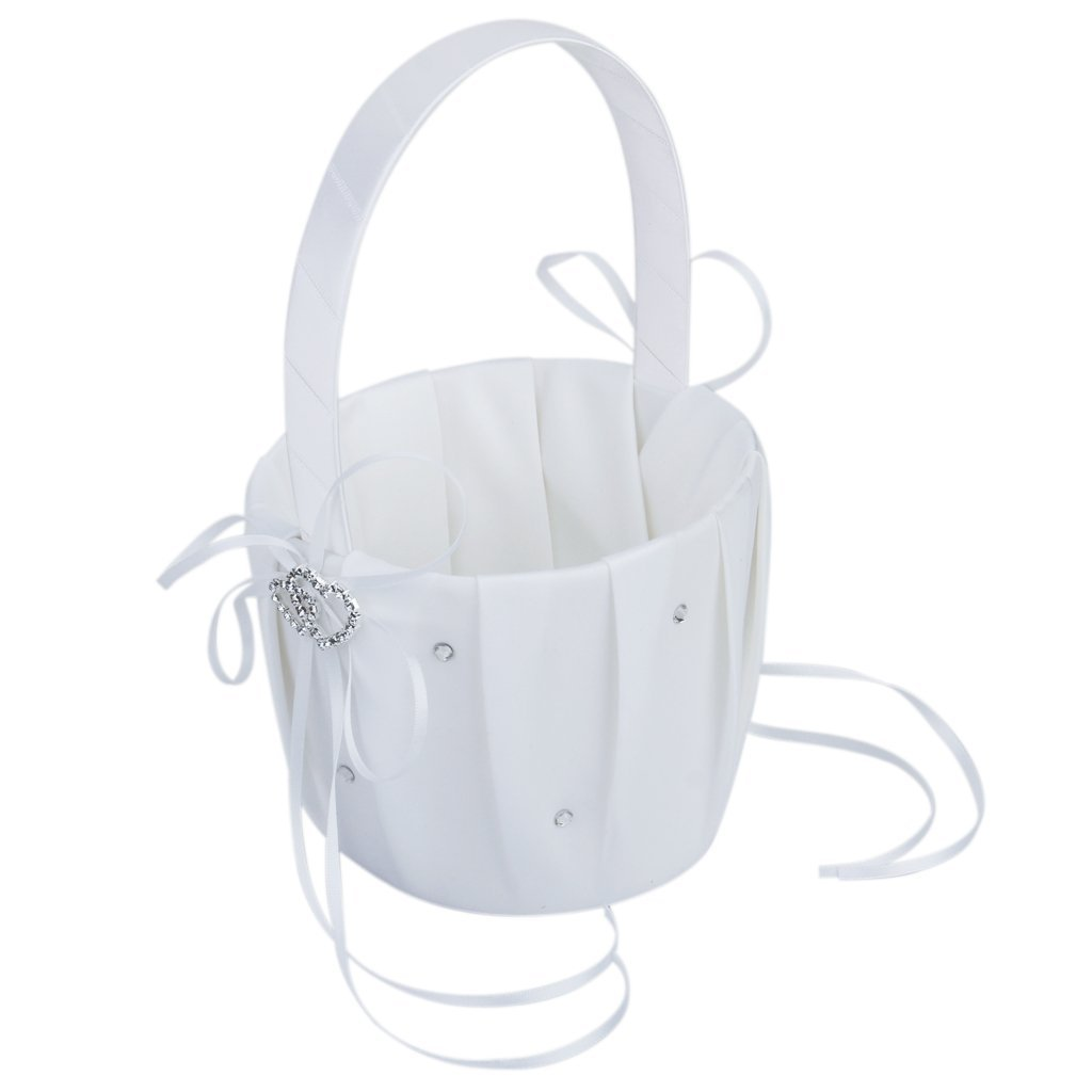 2x Satin Bowknot Faux Pearl Rhinestone Girl/&Boy Flower Basket For Wedding Party