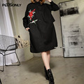 Turn-down Collar Dress 2017 New Spring Casual Floral Bird Embroidery Loose Knee-length Cotton Long Sleeve Dress Vestidos ATT351