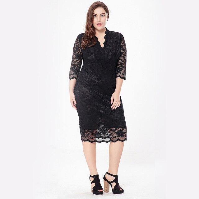 Women dress плюс размер 6l долго 2017 лето dress большой размер женская одежда v-образным вырезом сексуальный полые кружева мода office dress 5xl 6xl